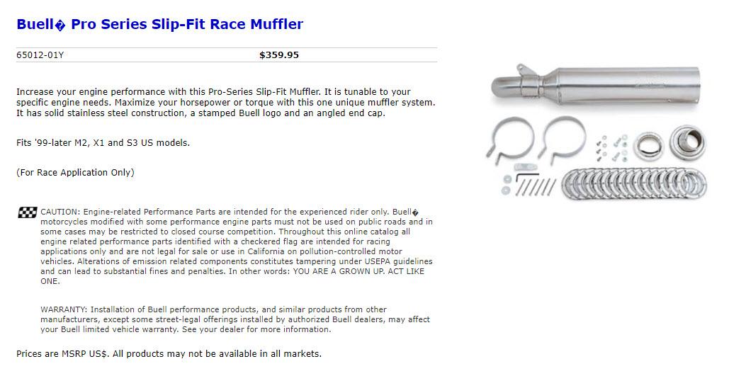 Buell pro Series Supertrapp Slip On Muffler