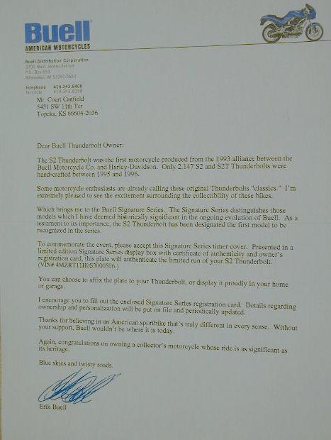 Signature Series S-2 Letter