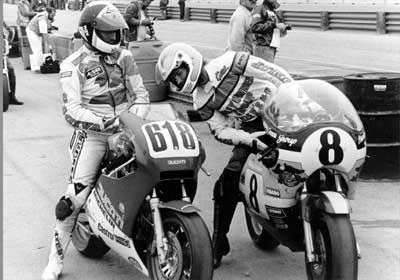 Gene Church and Lucifer's Hammer on the grid at Daytona with former world champion Marco Luchinelli